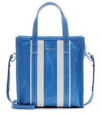 Balenciaga Bazar Small Striped Leather Tote Blue