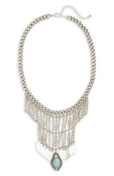 Junior Women's Bp. Metal Tassel And Stone Statement Necklace Turquoise Silver