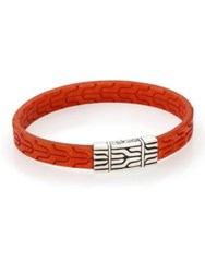 John Hardy Classic Chain Sterling Silver And Leather Bracelet Orange
