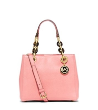 Michael Kors Cynthia Small Leather Satchel Pale Pink