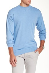 Peter Millar Heather Interlock Crew Sweater Blue