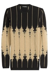 Balmain Knit Pullover With Metallic Thread Black