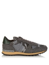 Valentino Rockrunner Camoucouture Print Felt Trainers Grey Multi