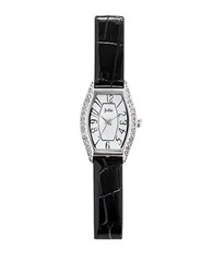 Jolie Ladies Crystallized Silvertone Watch With Leatherette Strap Natural Black