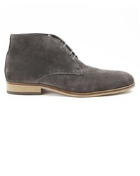 Menlook Label Grey Leather Desert Boots
