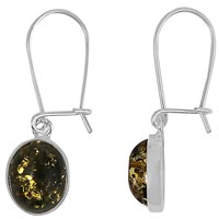 Goldmajor Green Amber And Sterling Silver Drop Earrings Sliver Green