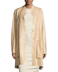 Donna Karan Trapeze Leather Coat W Pockets Pongee