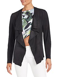 Romeo And Juliet Couture Faux Suede Open Front Cardigan Black