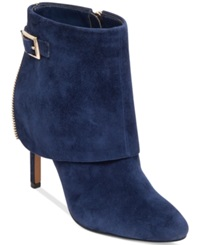 Jessica Simpson Dyers Cuffed Dress Booties Women's Shoes Military Blue Suede