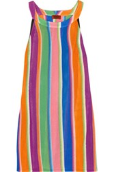 Missoni Mare Striped Crochet Knit Dress Dark Purple