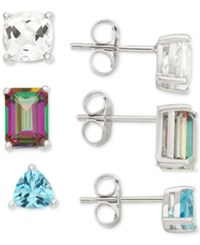 Macy's White Topaz Mystic Topaz And Blue Topaz Earring Trio 5 5 8 Ct. T.W. In Sterling Silver