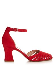Valentino Cut Out Suede Sandals Red