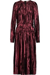 Lanvin Pleated Metallic Silk Blend Dress Red