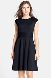 Women's Eliza J Pintucked Waist Seamed Ponte Knit Fit And Flare Dress Navy