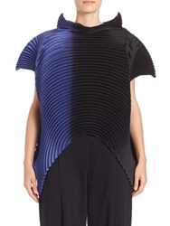 Issey Miyake Saturn Pleats Stand Collar Blouse Blue