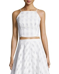 Greylin Plaid And Stripe Crop Top White