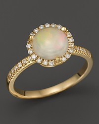 Bloomingdale's Opal And Diamond Halo Ring In 14K Yellow Gold White Gold
