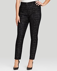 Nydj Plus Jade Houndstooth Flocked Legging Jeans In Black Houndstooth Flocking Black