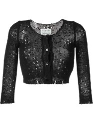 Maison Martin Margiela Maison Margiela Distressed Cropped Cardigan Black