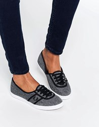 Fred Perry Aubrey Space Dyed Charcoal Plimsoll Trainers Charcoal Black