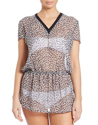 Michael Kors Abstract Jaguar Sheer Print Cover Up Black