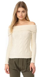 Free People Cable Fold Over Sweater Ivory