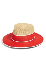 Women's Eric Javits 'Georgia' Woven Hat Red Red Mix