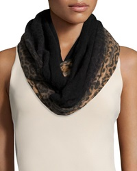 Neiman Marcus Cashmere Leopard Print Dip Dye Infinity Scarf Brown Leop