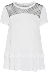 Red Valentino Tulle Paneled Ruffled Modal Top White