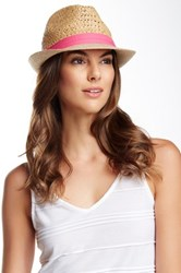 Steve Madden Two Weave Banded Straw Fedora Pink