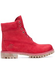 Timberland Lace Up Hiking Boots Red