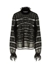 Isabel Marant Sondra Striped Lace Silk Blouse Black
