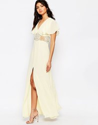 Jarlo Edith Button Front Lace Insert Flutter Sleeve Maxi Dress Cream