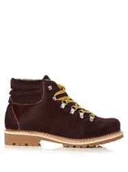 Montelliana Margherita Calf Hair Apres Ski Boots Burgundy
