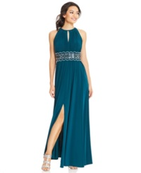R And M Richards Sleeveless Beaded Evening Gown Emerald