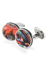 Men's M Clip Abalone Cuff Links Stainless Steel Orange