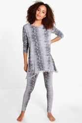 Louise Pom Pom Snake Knitted Loungewear Set Grey