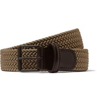 Andersons 3Cm Khaki Leather Trimmed Woven Elastic Belt Green