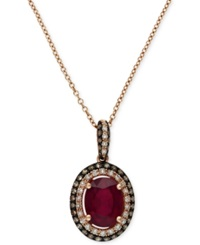 Effy Collection Red Velvet By Effy Ruby 1 1 2 Ct. T.W. And Diamond 1 4 Ct. T.W. Oval Pendant In 14K Rose Gold