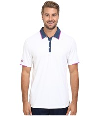 Adidas Climacool Performance Polo White Mineral Blue Flash Pink Men's Clothing