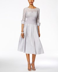 Jessica Howard Lace Three Quarter Sleeve A Line Dress Silver