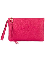 Salvatore Ferragamo Large Embossed Logo Clutch Pink And Purple