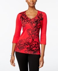 Karen Scott Scroll Print Flocked Top Only At Macy's New Red Amore