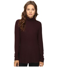 Heather Brushed Hacci Long Sleeve Turtleneck Rosewood Women's Clothing Red