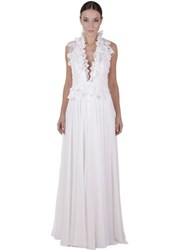 Martha Medeiros Silk Chiffon And Handmade Lace Dress