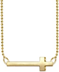 Alex Woo Side Cross Pendant Necklace In 14K Gold Yellow Gold
