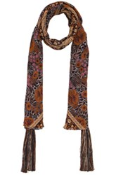 Chloe Foulard Scarf In Floral Orange Abstract Floral Orange Abstract