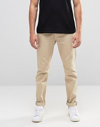 Asos Straight Trousers In Stone Heavy Twill Light Grey