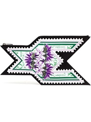 Mary Katrantzou Stamp Print Clutch Pink And Purple