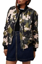 Topshop Women's Camo Ma1 Bomber Jacket Pink Multi
